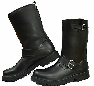 TALL LEATHER TOURING CRUISER MOTORBIKE MOTORCYCLE LADIES KIDS MENS BOOTS