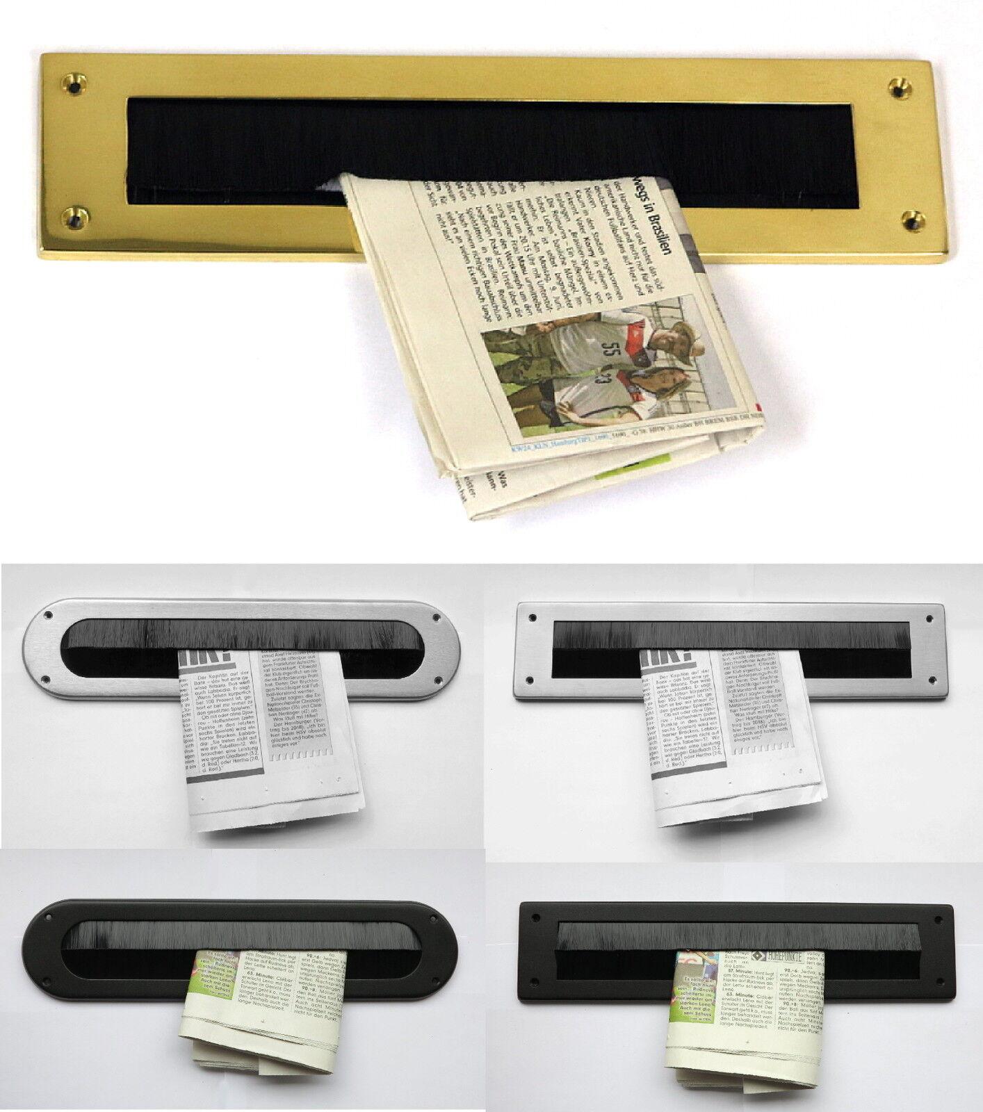 Innenklappe-Mit Bürste-Messing od. Edelstahl-340x80 mm-Briefeinwurf-Briefklappe