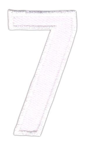 be79 Zahl 7 Sieben Weiß Nummer Aufnäher Applikation Bügelbild Patch 2,5 x 5,0 cm