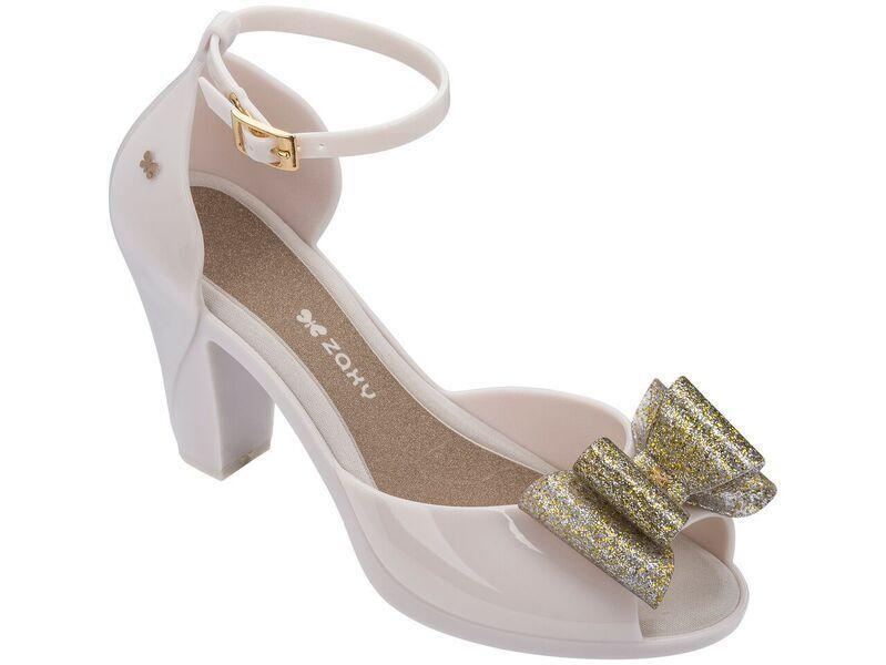 Zaxy Donna Diva Fiocco 2 Gold Glitter Pompe Sandali Con Tacco Jelly Pompe Glitter Scarpe Misura 53a41a