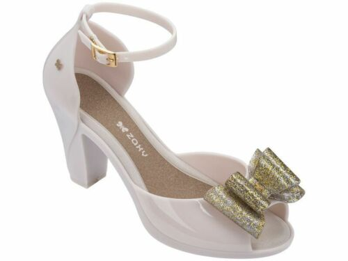 Ladies Zaxy Diva Bow 2 Gold Glitter Heeled Jelly Pumps Sandals Shoes Size UK 3-8
