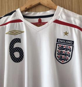 ENGLAND 2007 - 2009 WHITE UMBRO FOOTBALL SHIRT TERRY 6 SIZE XL