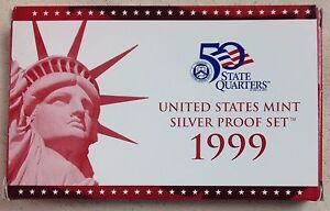 1999-US-MINT-SILVER-PROOF-SET-Complete-w-Original-Box-and-COA