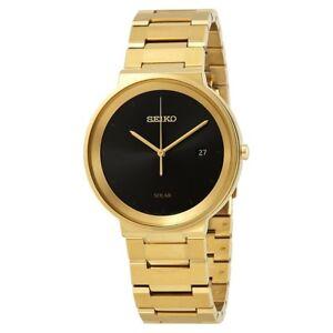 Seiko SNE482 Mens Solar Gold Black Premium Watch WR100m RRP $695.00
