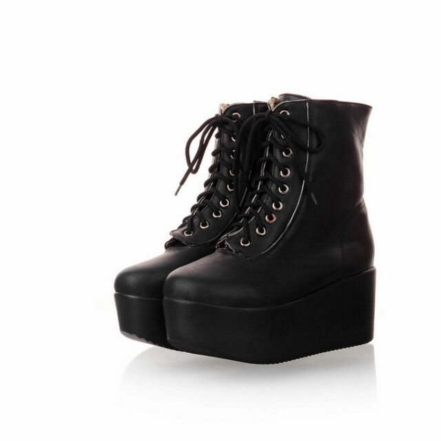 Womens High Wedge Platform Heel Lace Up Punk Goth Motor Ankle Boot Creeper shoes