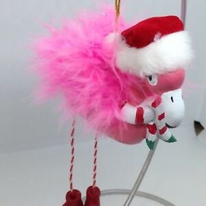 PINK FLAMINGO Christmas ORNAMENT Santa Hat Real Feathers ...