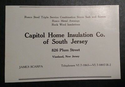 Collectibles Of South Jersey Advertisement Vineland Nj Be Novel In Design United 1948 Capitol Home Insulation Co