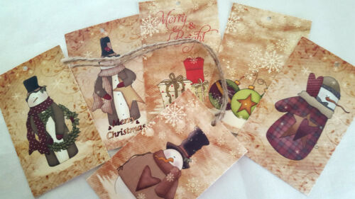 Set of 6 Primitive Snowmen /'Merry /& Bright/' Christmas Gift Tags /& String