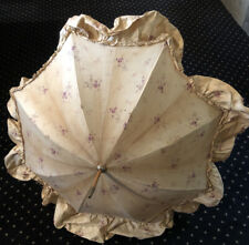 Rarest Every Day Poplin Victorian Floral PARASOL Wood silk Silver End/tip NR