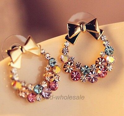 New Fashion 1pair Women Lady Elegant Crystal Rhinestone Ear Stud Earrings Gift