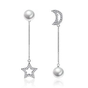Womens-Pearl-Moon-Star-Stud-Chain-Drop-Earrings-925-Sterling-Silver-Jewellery-UK