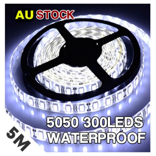 5M 5050 SMD 300 Leds Flexible LED Strip Light Lamp Cool White DC 12V Waterproof