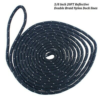 "3//8/"" X 50/' 24 strand Double Braid boat,anchor line,Docking Line Black,Made USA,"