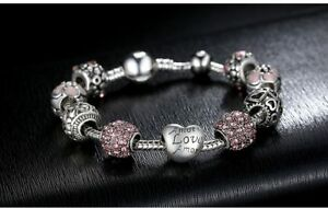 BAMOER-Antique-Silver-Charm-Bracelet-amp-Bangle-with-Love-and-Flower-Beads-Women