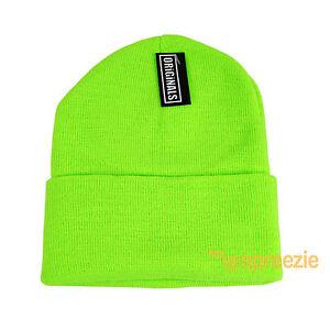 e4170ebe042 Electric Green Beanie Plain Knit Ski Hat Skull Cap Cuff Warm Winter ...