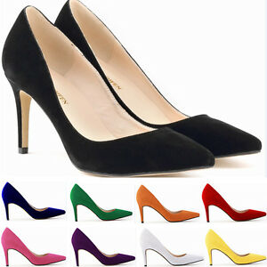 Girl-Womens-High-Heels-Office-Work-Faux-Suede-Pointed-Toe-Pumps-Shoes-Plus-Size