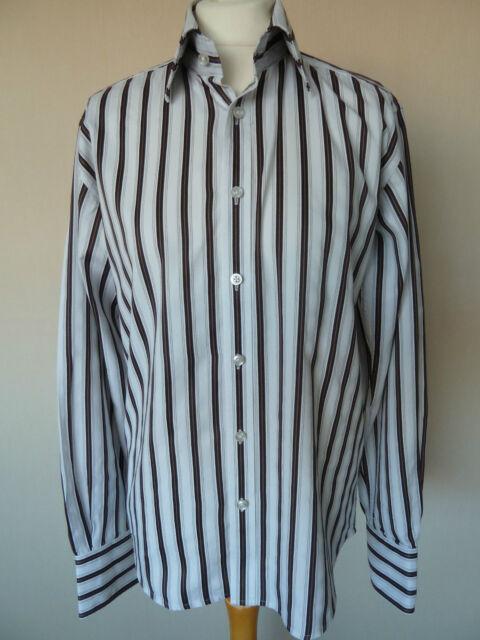 Men's selezionata White & Brown A Righe Cotone Camicia Taglia S Circonferenza Petto 40