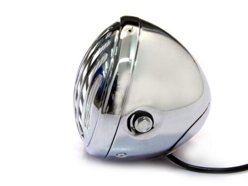 Headlight Head Lamp H4 55W 12V Motorbike Bobber Cafe Racer Prison Grill  CHROME