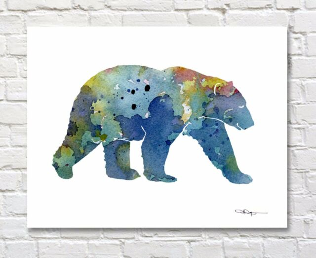 Elephant and Baby Abstract Watercolor Painting Art Print by Artist DJ Rogers