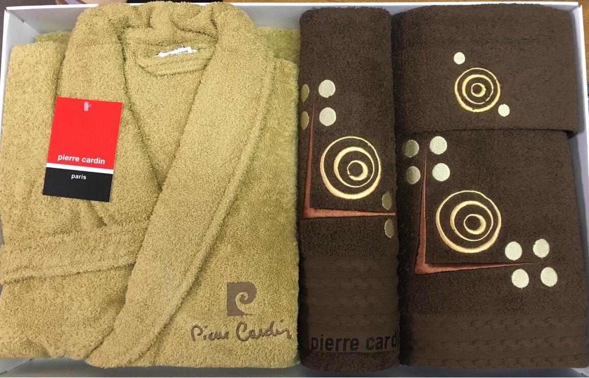 Pierre cardin l xl luxe 4 pièces peignoir serviette set latte chocolat cercles
