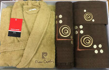 PIERRE CARDIN L / XL LUXURY 4 PIECE BATHROBE TOWEL SET LATTE CHOCOLATE CIRCLES