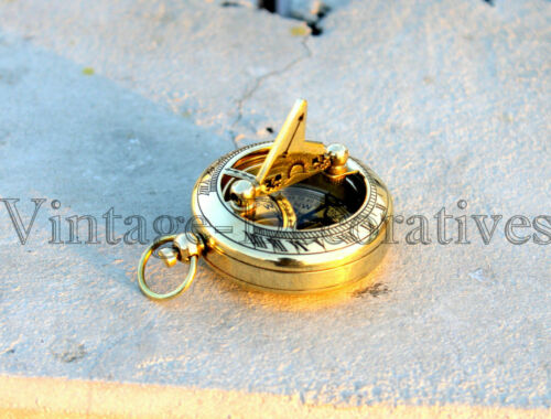 Shiny Brass Sundial Compass Handmade Maritime Push Button Nautical Compass Decor
