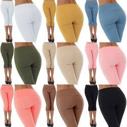 Malucas Damen High Waist Capri Hose 3/4 Knielang Kurze Shorts Bermuda Stretch