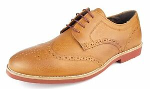 red tape mens lace up leather brogue casual shoes brown