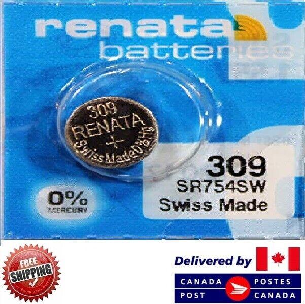 1 PC Renata 309 Watch Batteries 0% MERCURY SR754SW Swiss Made CDN SELLER