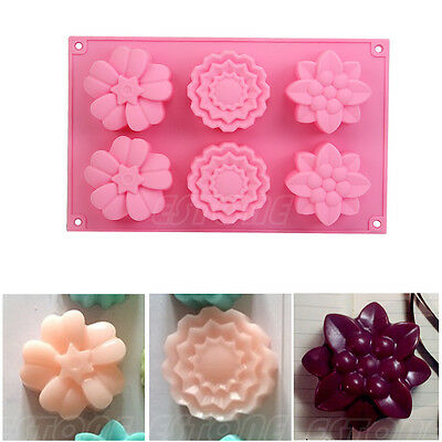 6-Flowers Silicone Ice Cube Chocolate Cake Cookie Cupcake Soap Molds Mould 1pc