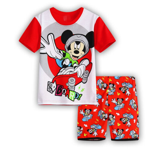 Kids Boy Girl Cartoon Pajamas Minnie Mickey T-Shirt /& Short Pant Clothes Outfits