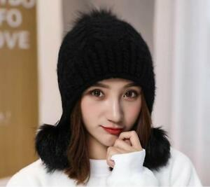 7cffe47d76d5 Image is loading Winter-Women-Rabbit-Plush-Winter-Protection-Knitted-Outdoor -