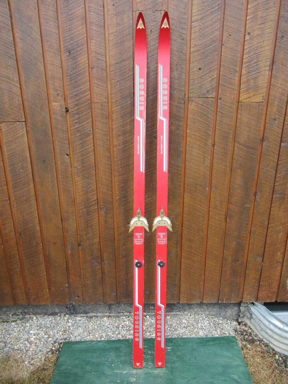 VINTAGE Wooden 75  Skis Has RED Finish