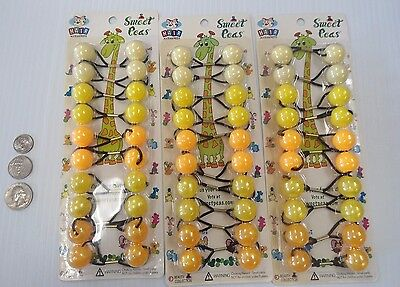 3 packs Round Yellow Elastic hair Balls Scrunchies braiding Ponytail Holder