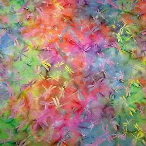 Dragonfly-Batik-Rainbow-of-Multicolors-Cotton-for-Quilting-amp-Apparel