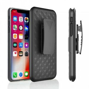 For iPhone XR - Case Combo Swivel Belt Clip Holster Cover w Kickstand