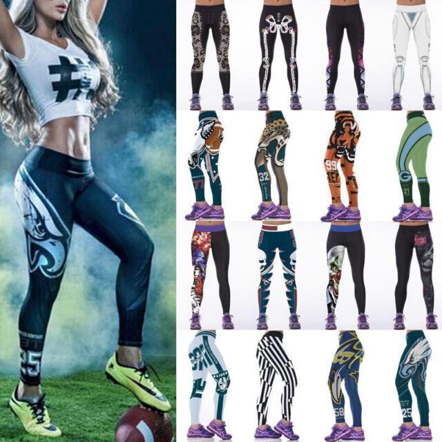 Womens Sports Leggings Fitness Yoga Gym 3D Print Pants Running Jogging Trousers