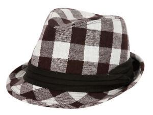 Plain-Fedora-Fashion-Hat-Plaid-Brown-amp-White