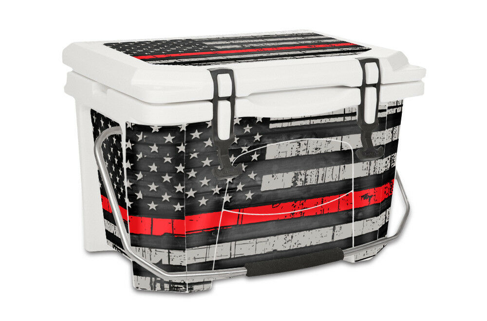 USATuff Decal Wrap Full Kit fits Grizzly 20qt Cooler USA Red Line Flag