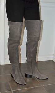New-Never-Worn-Via-Spiga-Thigh-High-Suede-Boots-Taupe-7-1-2