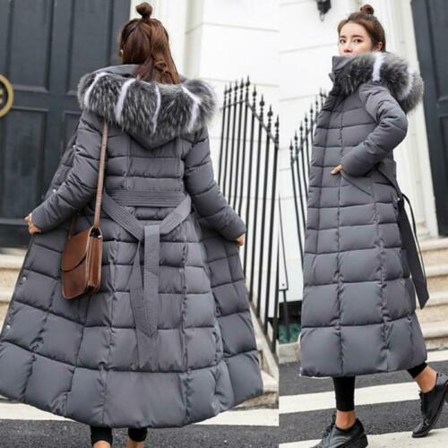 Ladies Winter Big wool collar Long Jacket Hooded Warm Cotton-padded Down Coat