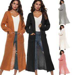 Women-039-s-Full-Length-Maxi-Cardigan-Duster-Long-Sleeve-Open-Front-Sweater-Coat