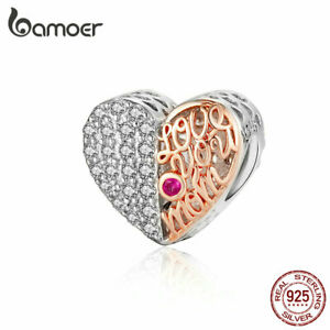 BAMOER-925-Sterling-silver-Charm-Bead-Mom-039-s-heart-With-CZ-Fit-Bracelet-Jewelry