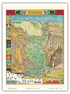 Jo Mora 1931 Vintage Pictorial Map Metal Tin Sign Art Yosemite Valley