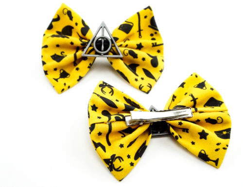 Yellow Hufflepuff Harry Potter Icons Fabric Hair Bow with Deathly Hallows