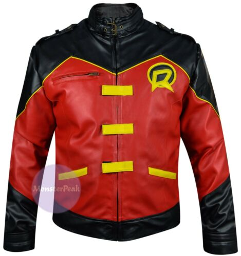 Justice League Robin Red /& Black Real Sheep Leather Jacket