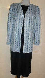 Neues-2-teiliges-Damenkleid-Kleid-mit-kurzen-Arm-und-Jacke-Gr-40-Gr-42-blau