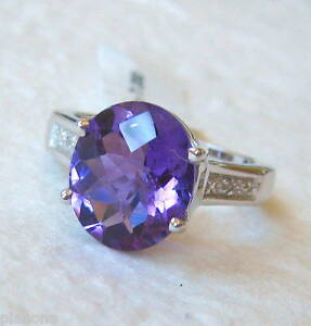 4.25ct Oval Purple Amethyst Sterling Silver .925 Diamond Ring