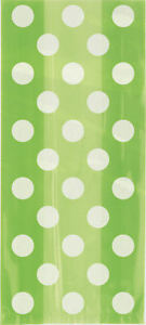 20-Lime-Green-Spotty-Cellophane-Gift-Bags-Plastic-Loot-Bag-Party-Polka-Dot