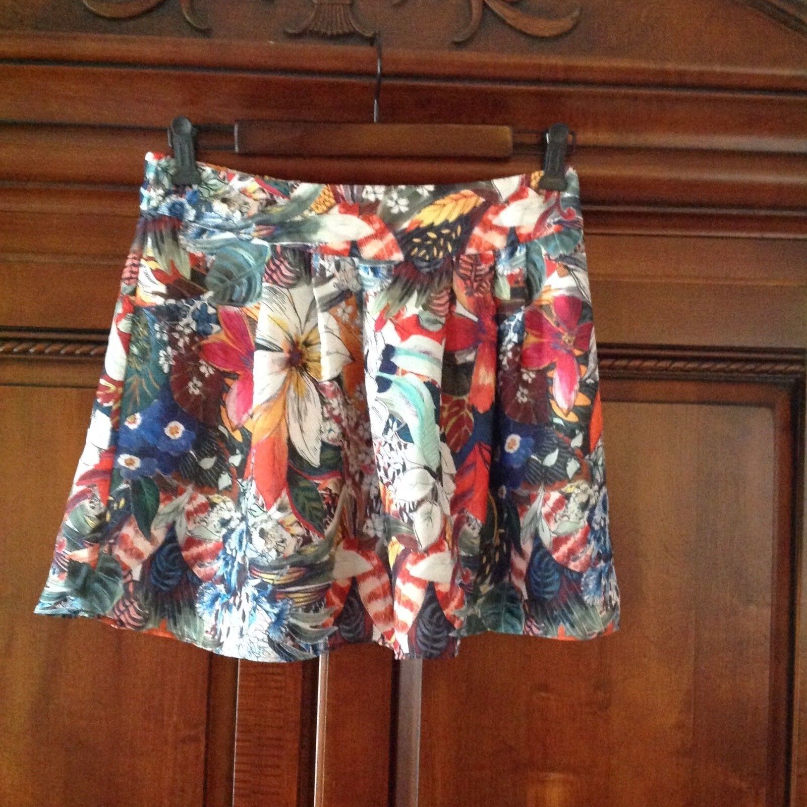 Zara Floral Tropical Print Mini Skirt, Size Small, NWOT